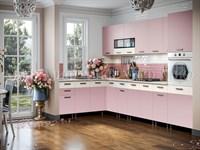 Кухня Рио розовая 1800*3200 мм.